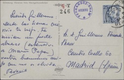 Tarjeta postal de Federico Romero a Guillermo Fernández-Shaw, saludándole durante un viaje.