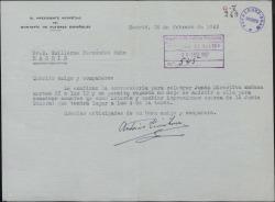 Carta de Antonio Quintero a Guillermo Fernández-Shaw, convocándole a una reunión del Montepío de Autores Españoles.