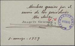 Tarjeta de visita de Joaquín Guichot a Guillermo Fernández-Shaw, agradeciéndole el envío de los periódicos.