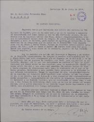"""Carta de Javier Regás a Guillermo Fernández-Shaw, felicitándole por el éxito de """"El gaitero de Gijón"""" y hablándole del homenaje a Sagarra."""
