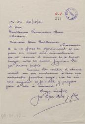 Carta de José López Silva a Guillermo Fernández-Shaw, felicitándole el año.