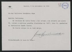 """Carta de Juan Ignacio Luca de Tena a Guillermo Fernández-Shaw, celebrando que vuelva a publicar sus poesías en """"ABC""""."""