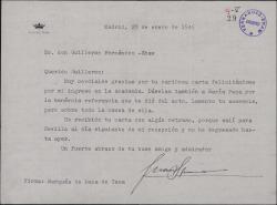 Carta de Juan Ignacio Luca de Tena a Guillermo Fernández-Shaw, agradeciéndole su enhorabuena por su ingreso en la Academia.