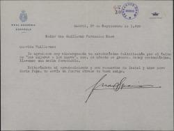 Carta de Juan Ignacio Luca de Tena a Guillermo Fernández-Shaw, agradeciéndole su felicitación con motivo de un éxito teatral.