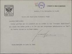 """Carta de Juan Ignacio Luca de Tena a Guillermo Fernández-Shaw, agradeciéndole el envío de su obra """"Estampas isabelinas""""."""