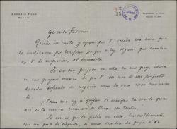 Carta de Antonio Paso a Federico Romero, aclarando cierto asunto teatral.