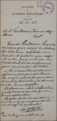 Carta de Gonzalo Cantó a Guillermo Fernández-Shaw, dándole las gracias por una atención.