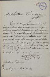Carta de Gonzalo Cantó a Guillermo Fernández-Shaw, pidiéndole una localidad para presenciar un estreno suyo.
