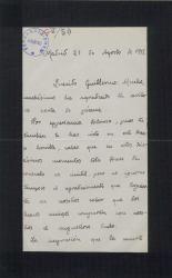 Carta de José Ramos Martín a Guillermo Fernández-Shaw, agradeciéndole el pésame por la muerte de su padre.