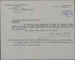 Carta de José Ramos Martín a Guillermo Fernández-Shaw, comunicándole que la Sociedad de Autores Dramáticos ha concedido las dos autorizaciones pedidas por él para la representación de sus obras.