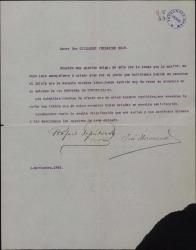 Carta de Rafael Sepúlveda y José Manzano a Guillermo Fernández-Shaw, lamentando su ausencia en el estreno de una de sus obras.
