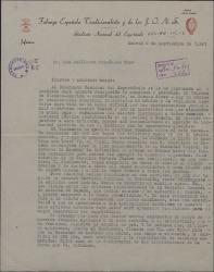 Carta de Francisco Serrano Anguita a Guillermo Fernández-Shaw, desde el Sindicato Nacional del Espectáculo, solicitando su colaboración económica para la repatriación de un grupo de artistas españoles desde Argentina.