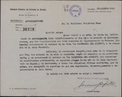 Carta de Francisco Serrano Anguita a Guillermo Fernández-Shaw, ratificando una autorización de la Sociedad de Autores.