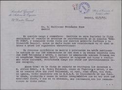"""Carta de Francisco Serrano Anguita a Guillermo Fernández-Shaw, pidiéndole ciertas aclaraciones, en nombre de la Sociedad General de Autores, sobre los adaptadores de la obra """"Sexto Piso""""."""