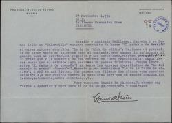 Carta de Francisco Ramos de Castro a Guillermo Fernández-Shaw, sobre el proyecto de realizar sendos sainetes.