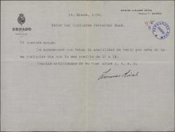 Carta de Manuel Linares Rivas a Guillermo Fernández-Shaw, citándole en su casa.
