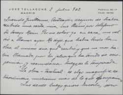 Tarjeta de José Tellaeche a Guillermo Fernández-Shaw, transmitiéndole unas palabras de Guillermo Marín con respecto a su posible participación en un proyecto teatral.
