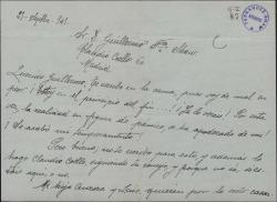 Carta de José Tellaeche a Guillermo Fernández-Shaw, pidiéndole su intercesión en el asunto de un piso para su hija.