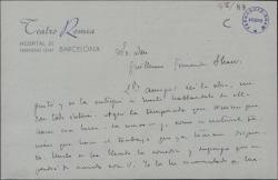 Carta de José Juan Cadenas a Guillermo Fernández-Shaw, diciéndole que ha leído su obra y se la ha pasado a Merlo.