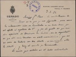 Tarjeta de Manuel Linares Rivas a Guillermo Fernández-Shaw, dando por terminadas las gestiones relacionadas con cierta propuesta teatral.