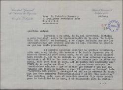 """Carta de José Juan Cadenas a Guillermo Fernández-Shaw y Federico Romero, refiriéndose, en nombre de la Sociedad General de Autores, a la representación de """"La tabernera del puerto"""" en Portugal."""