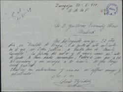 Carta de Luis Tejedor a Guillermo Fernández-Shaw, remitiéndole un artículo donde se comenta una obra suya.
