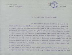Carta de Luis Tejedor a Guillermo Fernández-Shaw, expresándole su ya antigua admiración.