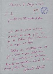 Carta de Eduardo Ordóñez a Guillermo Fernández-Shaw, saludándole en una etapa de su viaje.