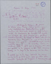 Carta de Eduardo Ordóñez a Guillermo Fernández-Shaw, rogándole le envíe romanzas de zarzuelas.