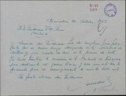 Carta de Antonio Medio a Guillermo Fernández-Shaw, felicitándole por su nombramiento en la Dirección General de la Sociedad General de Autores de España.