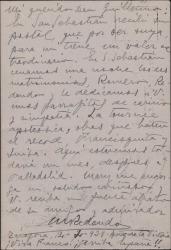 Tarjeta postal de Marcos Redondo a Guillermo Fernández-Shaw, contestando a una suya y contándole noticias de su tournée.