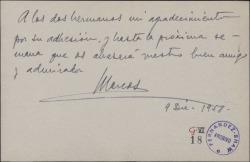 Tarjeta de Marcos Redondo agradeciendo su adhesión a los dos hermanos Fernández-Shaw.