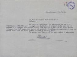 Carta de Marcos Redondo a Guillermo Fernández-Shaw, preguntándole por cierto asunto de un coche.