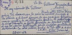 Tarjeta de Elio Guzmán a Guillermo Fernández-Shaw, felicitándole la Navidad.