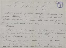 Carta de Pepe Alfonso a Guillermo Fernández-Shaw, informándole de los éxitos que van alcanzando las representaciones de sus obras.