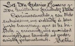 Tarjeta de visita de Emilio Sagi-Barba a Guillermo Fernández-Shaw, adhiriéndose al homenaje tributado a él y a Federico Romero.