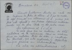 Carta de Luis Sagi-Vela a Guillermo Fernández-Shaw, dando la fecha definitiva de un estreno.