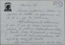 Carta de Luis Sagi-Vela a Guillermo Fernández-Shaw, confirmando la fecha del estreno de una obra suya.