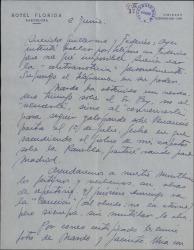 Carta de Luis Sagi-Vela a Guillermo Fernández-Shaw y Federico Romero, con noticias de sus representaciones y comentando el mal momento que pasan todos los teatros en Barcelona.
