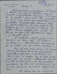 Carta de Luis Sagi-Vela a Guillermo Fernández-Shaw y Federico Romero, refiriéndose a una nueva obra y dando las fechas y lugares de su próxima tournée.
