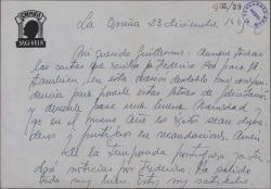 Carta de Luis Sagi-Vela a Guillermo Fernández-Shaw, felicitándole las navidades y dándole noticias de sus actuaciones.