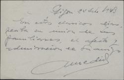 Tarjeta postal de Antonio Medio felicitando las navidades a Guillermo Fernández-Shaw.