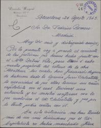 Carta de Ricardo Mayral a Federico Romero, dándole cuenta del fracaso de las gestiones para estrenar una obra suya.