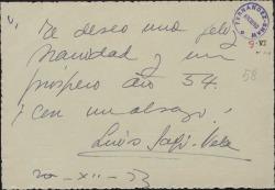 Tarjeta de Luis Sagi-Vela a Guillermo Fernández-Shaw, felicitándole las navidades.