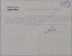 Carta de Luis Sagi-Vela a Guillermo y Rafael Fernández-Shaw, agradeciéndoles su felicitación por el premio de interpretación lírica que le han concedido.