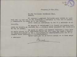 Carta de Marcos Redondo a Guillermo Fernández-Shaw, contestando a dos cartas de éste y concertando una cita para charlar.