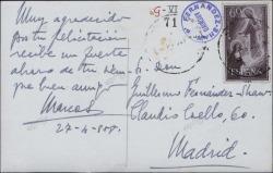 Tarjeta postal de Marcos Redondo a Guillermo Fernández-Shaw, agradeciéndole una felicitación.