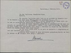 Carta de Marcos Redondo a Guillermo Fernández-Shaw, pidiéndole orientación para conseguir un coche Renault.
