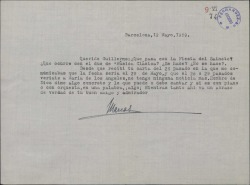 Carta de Marcos Redondo a Guillermo Fernández-Shaw, pidiendo noticias sobre la celebración del cincuentenario del maestro Chapi.