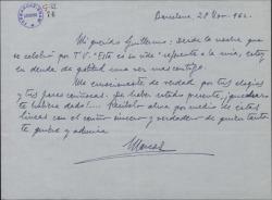 Carta de Marcos Redondo a Guillermo Fernández-Shaw, expresando su agradecimiento y su emoción por los elogios que de él hizo con motivo de un programa de televisión.
